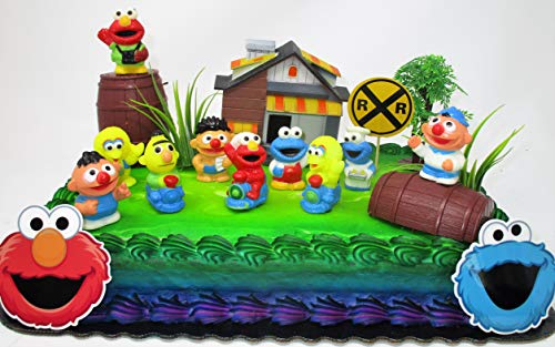 Kids Classic Cake Topper Set Featuring Big Bird, Elmo, Cookie Monster and Friends -