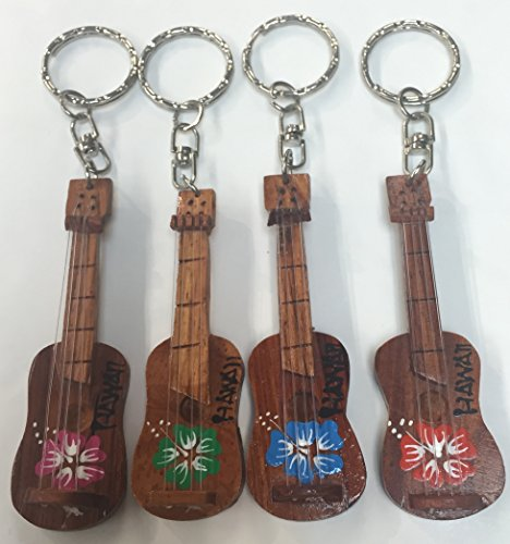 Tiki Wooden Key Chain Ukulele Design set of ()