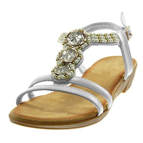 Angkorly Damen Schuhe Sandalen - Knöchelriemen - T-Spange - Strass - Perle - Golden Keilabsatz 3.5 cm Weiß