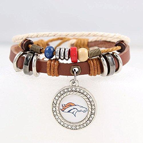 Leather Denver Broncos Bracelets - Denver Broncos Leather Charm Bracelet