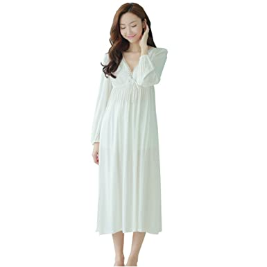 384c9a44a0 QLX Retro Palace Sleeping Dress Women Spring   Autumn V Necklace Cotton  Long Sleepwear White Nightdress