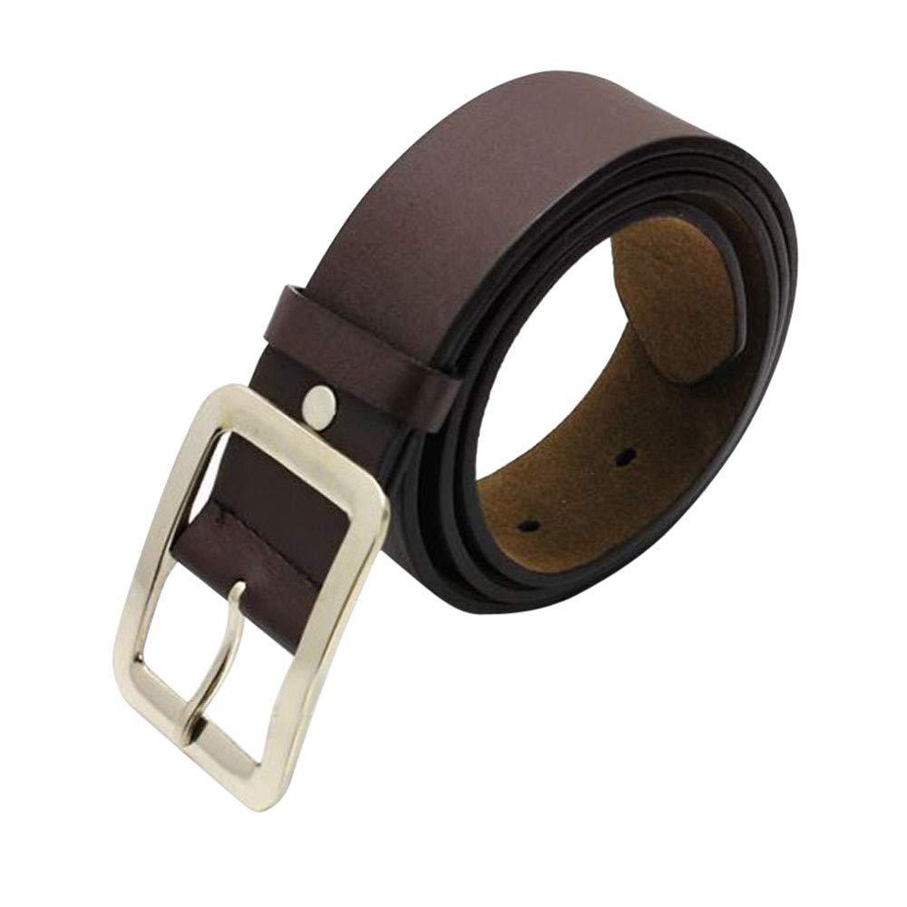 FIged Men Belt Strap Belts Waistband Pure Color Leisure Men Faux Leather Buckle (Coffee)