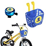 Mini-Factory Kid's Bike Basket and Bell 2pcs Play Set for Boys, Cute Cartoon Fire Truck Pattern Bicycle Handlebar Basket Plus Safe Cycling Ring Horn