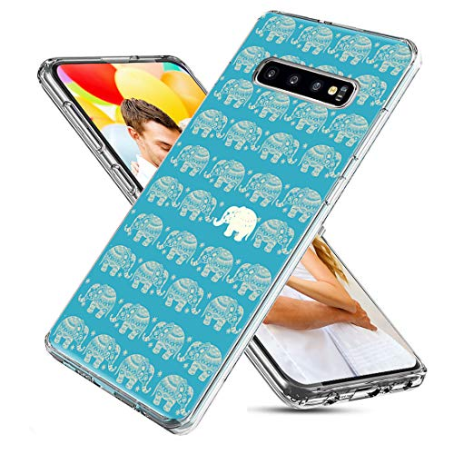 Samsung Galaxy S10 Case,CHICHIC Slim Flexible Soft TPU Silicone Protective Phone Case Cover with Cute Art Design for Samsung Galaxy S10,Cute Gold Cartoon Animal Elephant on Teal