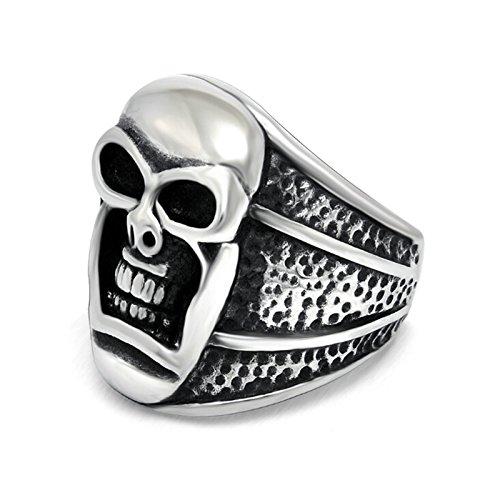 EoCot Men's Stainless Steel Vintage Gothic Biker Rock Ring 22MM Big Skull Head Wide Punk Black Silver Rings Size 12 ()