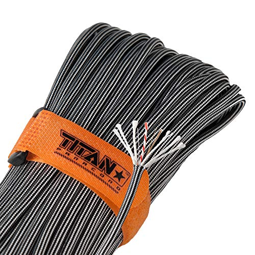 "Titan 550 Paracord/550 Cord/Survival Cord | Black Steel | Patented U.S. Military Type III 100% Nylon Parachute Cord (3/16"" Diameter) with Integrated Fishing Line, Fire-Starter, and Snare Wire."