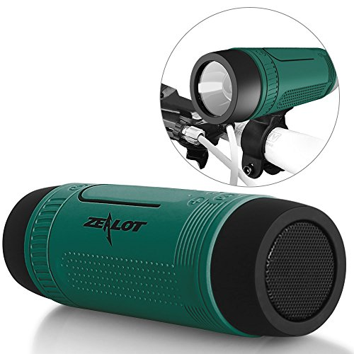 Bluetooth Bicycle Speaker Zealot S1 4000mAh Power Bank Waterproof Speakers with Full Outdoor Accessories(Bike Mount, Carabiner...)(Green) (Radio Bike)
