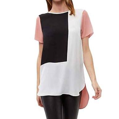 be9797d1ca195 LEvifun Women s Chiffon T Shirt Lovely Color Block Short Sleeve Tunic Scoop  Neck Casual Loose Blouse