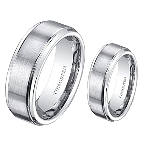 (2) Ring Set 8mm His & 6mm Hers Matte Stepedge Tungsten Carbide Engagement Wedding Bands (His And Her Rings Tungsten)