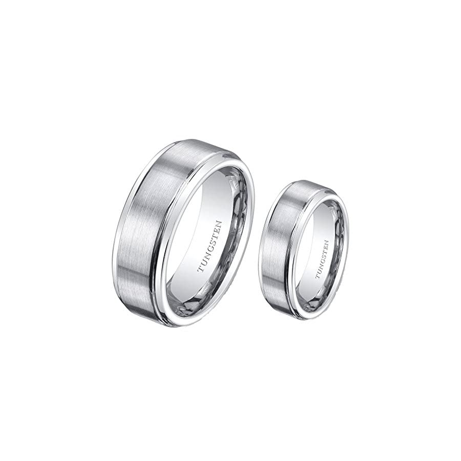 (2) Ring Set 8mm His & 6mm Hers Matte Stepedge Tungsten Carbide Engagement Wedding Bands