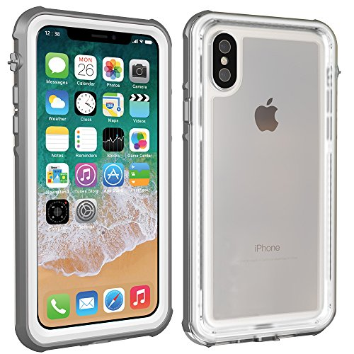iPhone X Waterproof Case, AICase IP68 Water Resistant Clear Back Upgraded Extreme Durable with Built-in Screen Drop Resistance Fully Sealed Shock Dirt Snow Proof Cover Case for iPhone X (Grey/White)