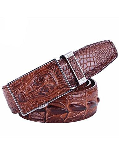 Nidicus Men's Unique Casual Automatic Buckle Full Grain Alligator Leather Belt Brown