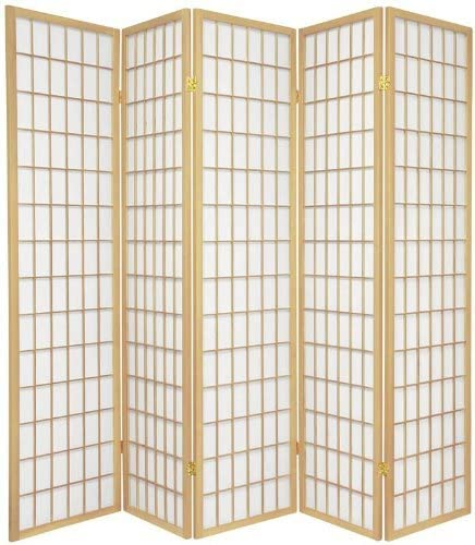 Japanese Oriental Style Room Screen Divider Natural 5 Panel