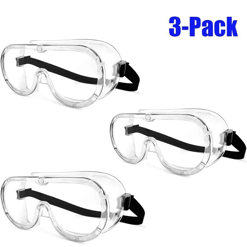 ORSEN Gafas protectoras gafas de campo completo antivaho anti-sellado gafas de protección para los ojos gafas transparentes gafas de arco laboratorio médico química niños adultos(3 Pack)