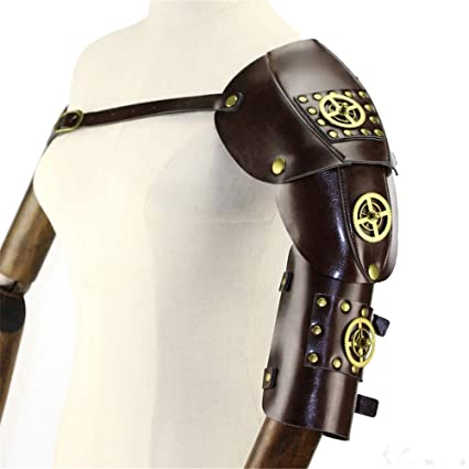 2 Set Men/'s Steampunk PU Body Chest Shoulder Harness Guard Armor with Arm Strap