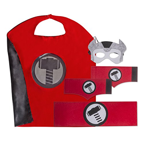Kid's, Boy's and Girl's SuperHero Costumes Multi-Pack with 5 Pieces. 5 Piece Set (Thor Girl Halloween Costume)