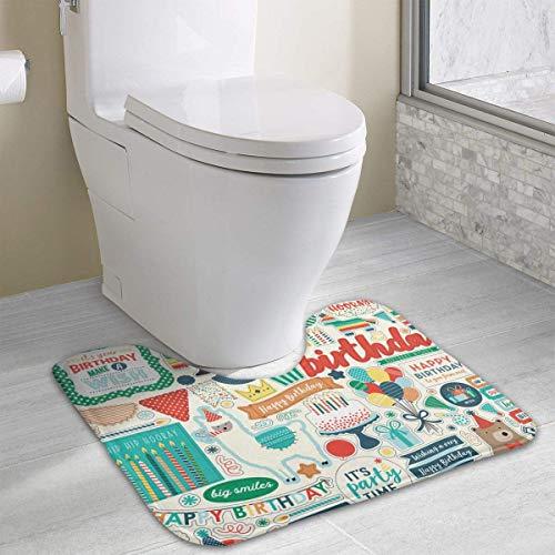 casually Happy Birthday Cute Bath Mat Toilet Carpet Doormats Floor Rugs for Bathroom Toilet 19.2″x15.7″