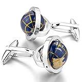 YEME Globe Rhodium Plated Silver Blue Shirt Cufflinks 1 Pair for Wedding