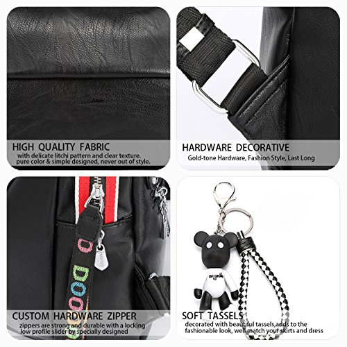 Backpack PU Bag Daypack Backpack Black Women's Shoulder Laptop Bags Handbags School Leather X8w6z
