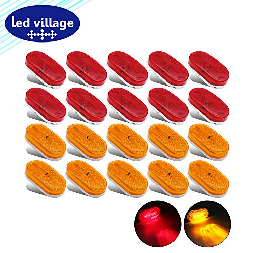 - LedVillage (Pack of 20) Oblong 10 Amber & 10 Red Marker Fender Bulbs Clearance Lamp Rectangle Trailer Lights for Truck Jeep Lorry Pickup Van Caravan Bus Camper SUV 12v DC Reflector LED Sealed Mount TT