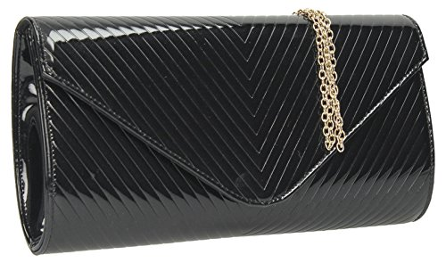 Clutch Envelope Detail Bag Patent Quilt V Style Black Smart Evening Leather Viola CzwqUpn