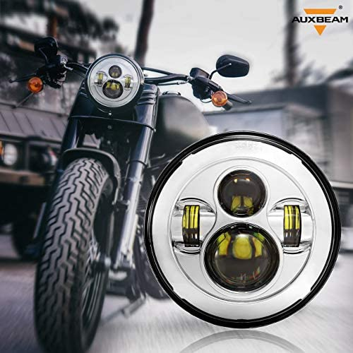 Auxbeam 7 Round LED Headlight 36W LED Driving Lights with Hi-Lo Beam Bulb for Motorcycle Offroad Vehicles Black
