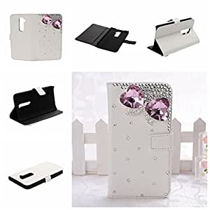 Wkae? LG G2 3D Bling Cases Luxury Crystal Pearl Diamond Rhinestone Eyecatching Beautiful Leather Retro Support bumper Cover Card Holder Wallet Case By Diebell (Pink Bowknot)