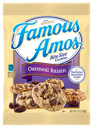 Famous Amos, Bite Size Cookies, Oatmeal Raisin, Bulk Size, 170 oz (Pack of 85, 2 oz Pouches) (Best Famous Amos Cookies Recipe)