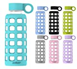 reusable glass water bottle - purifyou Premium Glass Water Bottle with Silicone Sleeve & Stainless Steel Lid Insert 12 / 22 / 32 oz (Aqua Blue, 32 oz)