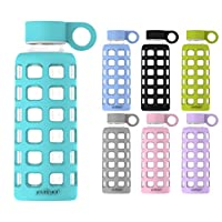 purifyou Premium Glass Water Bottle with Silicone Sleeve & Stainless Steel Lid Insert 12/22/32 oz (Aqua Blue, 32 oz)
