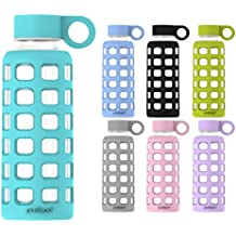 purifyou Premium Glass Water Bottle with Silicone Sleeve and Stainless Steel Lid, 12 / 22 / 32 oz