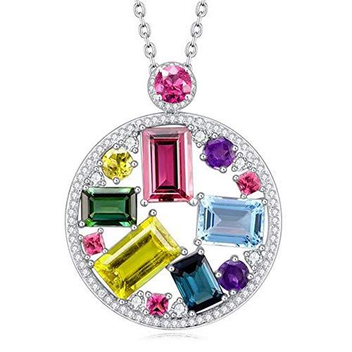- RIZILIA Emerald Cut Multi-Color Cubic Zirconia18K White Gold Plated Slide Pendant Necklace Curb Chain