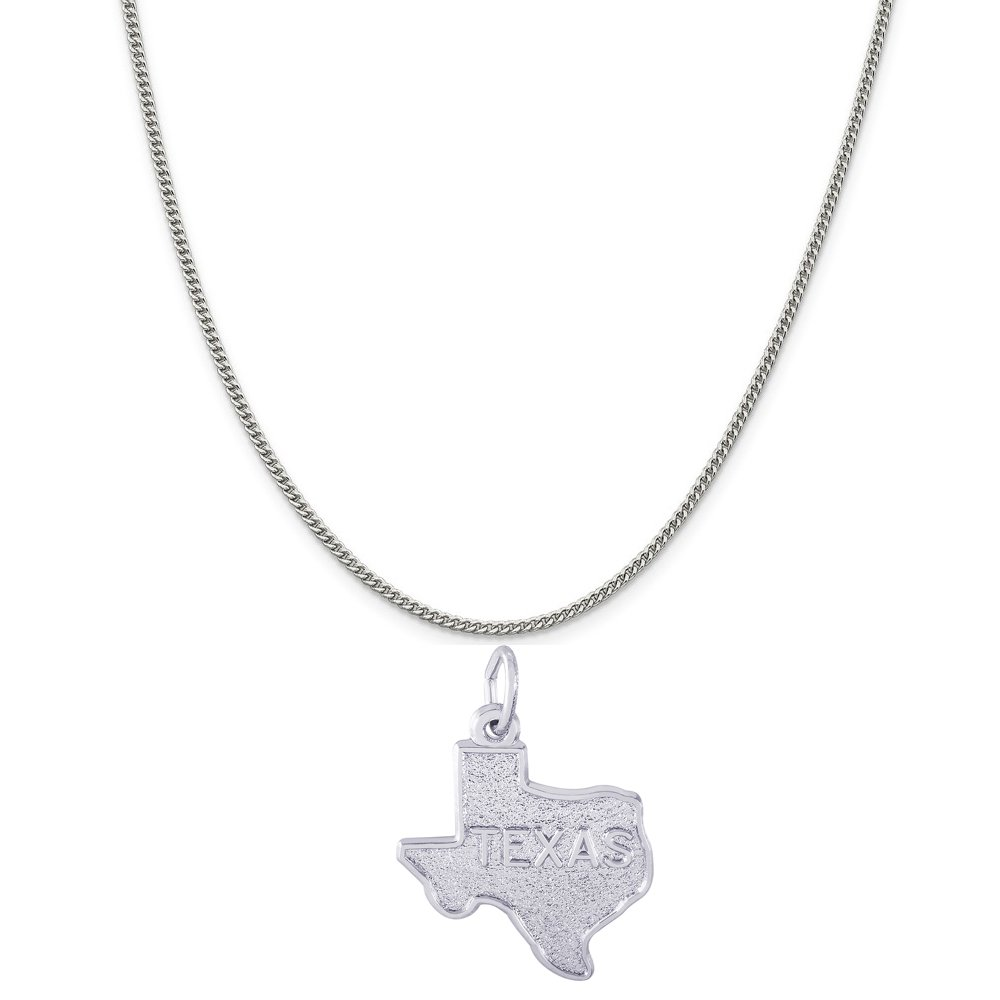 Rembrandt Charms 14K White Gold Texas Charm on a 14K White Gold Curb Chain Necklace, 18''