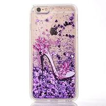 JAZ Heels Hard Transparent Liquid Case, Bling Flowing Glitter Love Heart Sparkle Dynamic Flowing Hybrid Bumper TPU Case Cover for iPhone6/6s 4.7inch (Heels purple)
