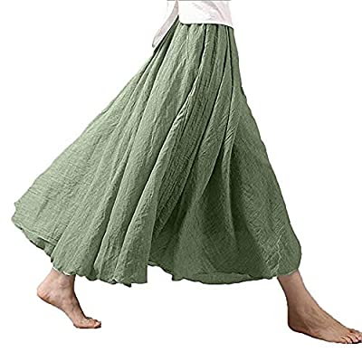 Women Long Bohemian Skirt Elastic Cotton Linen Waist Band Hippie Beach Full Length Pleated Maxi Skirts Dress
