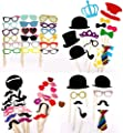60pcs Colorful Photo Booth Props DIY Set, Dress-up Party Accessories for Wedding Anniversary Birthday Graduation Party Shower Decor