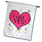 3dRose fl_161154_1 I Said Yes Bride to be Bachelorette Engagement Rings Garden Flag, 12 by 18-Inch