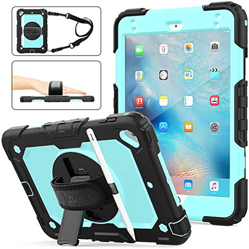 SEYMAC stock iPad Mini 5/4 Case, [Full-Body] & [Shock Proof] Hybrid Armor Protective Case with 360 Rotating Stand & Strap [Stylus Pencil Holder] for iPad Mini 5th/4th Generation(SkyBlue+Black)