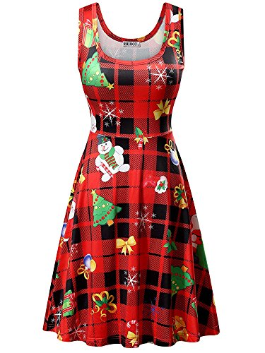 HUHOT Christmas Dresses, Women Xmas Tree Snowman Printed Mini Tank Dress(X-Large, Red Santa Snowman-1)]()