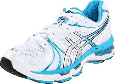 ASICS Women's GEL Kayano 18 Running Shoe,White/Island Blue/Black,6 D US