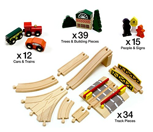 Conductor Carl 100-Piece Train Track Town Starter Set | Bulk Value Wooden Set with 34 Track Pieces, 12 Cars & Trains, 15 People/Signs, & 39 Trees/Houses