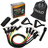 SMAID Resistance Band Set - Include 5 Stackable Exercise Bands with Waterproof Carrying Case, with Door Anchor Attachment, Legs Ankle Straps Resistance Training,Physical Therapy, Home Workouts