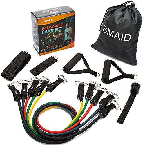 SMAID Resistance Band Set – Include 5 Stackable Exercise Bands with Waterproof Carrying Case, with Door Anchor Attachment, Legs Ankle Straps Resistance Training,Physical Remedy, Home Workouts – DiZiSports Store