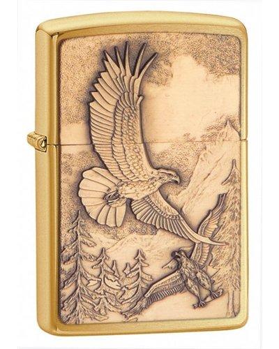 Zippo Where Eagles Dare Emblem Brushed Brass Lighter