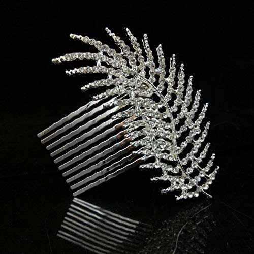 Silver Decorative Crystal Leaf Hair Piece for Wedding Hair Comb Rhinestones Bridal Hair Accessories for Women ()