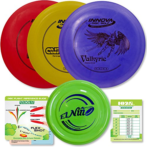 Innova Disc Golf Starter Set | 3 Beginner Discs - DX Putter, Mid-Range, Driver - 1025 Putting Game - Flight Reference Card - Driven Mini Marker Guarantee | Disc Colors Vary ()
