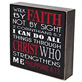 LifeSong Milestones Walk by Faith Not By Sight I Can Do All Things Through Christ wedding for couple, housewarming gift ideas for Mr. and Mrs. shadow box by 6''x6'' (Walk by faith)