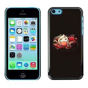 KLONGSHOP // Cubierta de piel con cierre a presión Shell trasero duro de goma Protección Caso - Blanco mullido Monster - iPhone 5C //