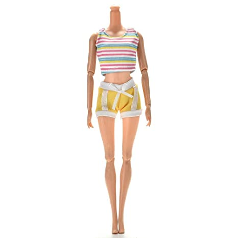 Jamisonme 1 Set Traje Amarillo Deportivo para Barbie ...