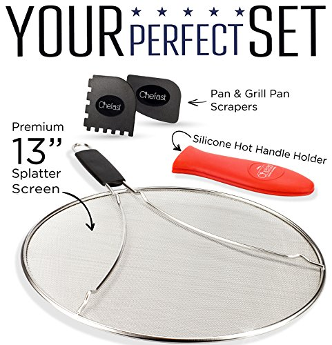 Chefast Splatter Screen Set: 13-Inch Stainless Steel Grease Splatter Guard, Cooking and Grill Pan Scrapers, and Silicone Hot Handle Holder - Elite Oil Splash Shield for Frying Pans, Pots, and Skillets by Chefast (Image #1)